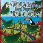 Find A Party, the new album from the Toucans Steel Drum Band, featuring cover art by James Sutherland